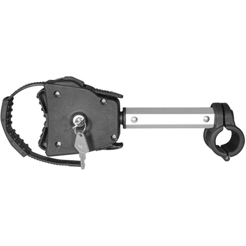 Držák rámu jízdního kola / elektrokola pro nosiče na tažné zařízení a zadní dveře - krátký / uzamykatelný