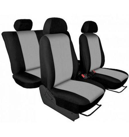 Autopotahy přesné Opel Vivaro B 2014-2019 sedadla 1-2 prostřední integrovaná hlavová opěrka - design Torino světle šedá