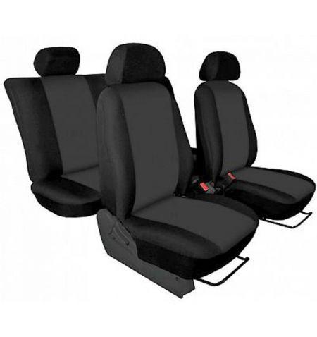 Autopotahy přesné Opel Vivaro B 2014-2019 sedadla 1-2 prostřední integrovaná hlavová opěrka - design Torino tmavě šedá
