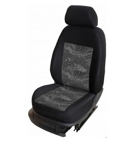 Autopotahy přesné na sedadla Opel Vivaro B 2014-2019 sedadla 1-2 prostřední integrovaná hlavová opěrka - design Prato C