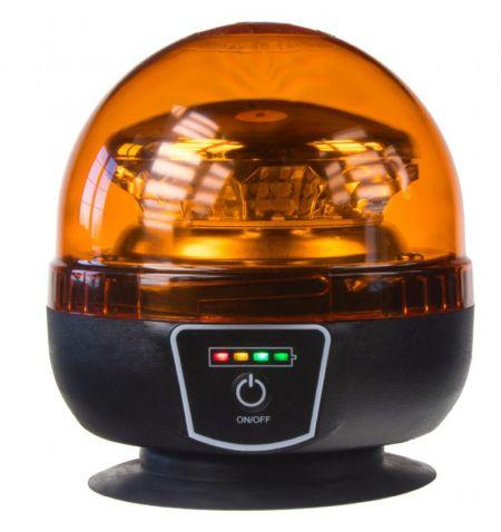 Maják LED diodový s vestavěným akumulátorem - oranžový 12x 3W LED magnetické uchycení ECE R65