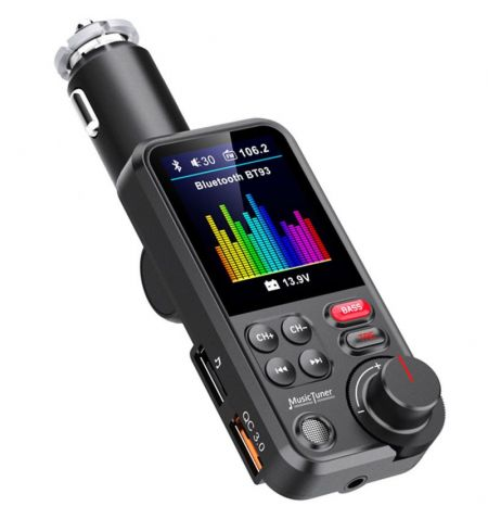 Hands Free modulátor FM přehrávač Bluetooth MP3 USB microSD eqalizér TFT LCD 1.8 palců