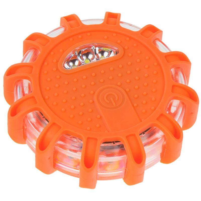 Bezpečnostní SOS světlo 12 3x LED dioda 3x baterie AAA oranžové
