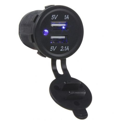 Zásuvka USB do panelu 12-24V 2x USB 1A 2-1A modré podsvícení