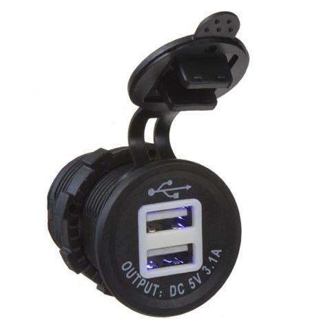 Zásuvka USB do panelu 12-24V 2x USB 3-1A modré podsvícení