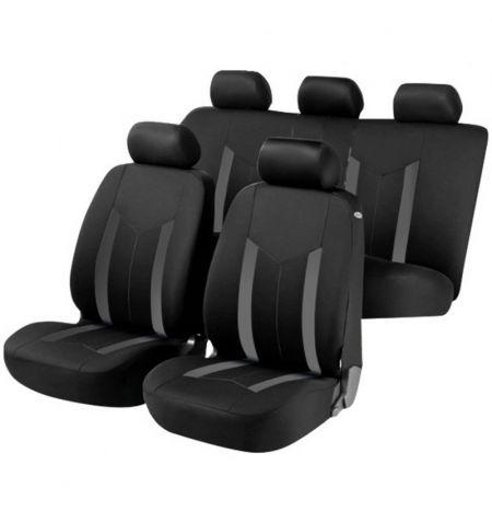 Autopotahy sedadel na celé vozidlo s bočními airbagy v sedadlech - Aroso sada 9 dílů - šedé černé
