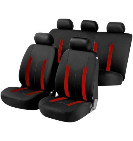 Autopotahy sedadel na celé vozidlo s bočními airbagy v sedadlech - Aroso sada 9 dílů - červené černé