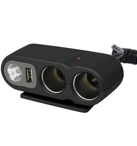 Rozdvojka USB lampička prodlužovací kabel do zásuvky zapalovače 12V 5A délka 0.9m