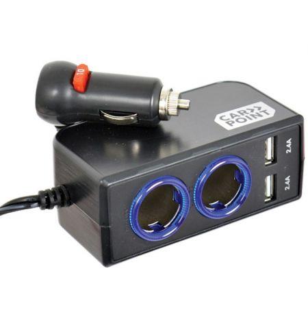 Rozdvojka do zásuvky zapalovače 2x USB 2x2.4A prodlužovací kabel 1m 12V 24V 10A