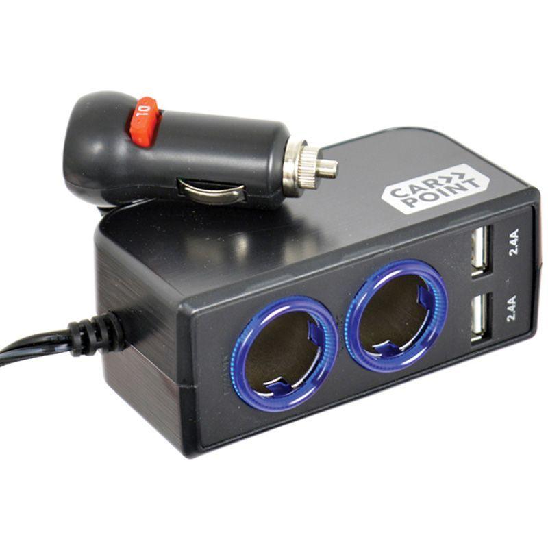 Rozdvojka do zásuvky zapalovače / 2x USB 2x2.4A / prodlužovací kabel 1m / 12V/24V 10A