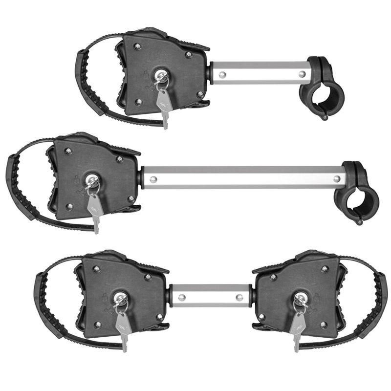Držáky rámů jízdních kol / elektrokol pro nosiče na tažné zařízení a zadní dveře - sada 3 díly / uzamykatelné