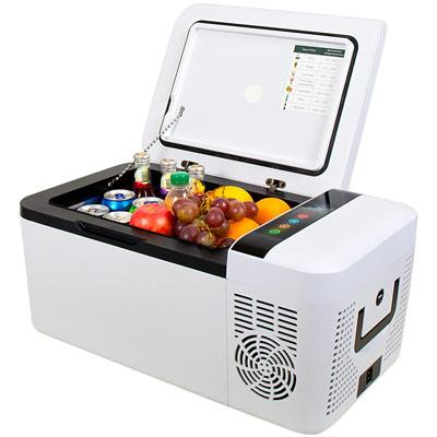 Autochladnička mraznička lednice kompresorová chladící box do auta Aroso 12V 24V 230V 15l - chlazení potravin a nápojů
