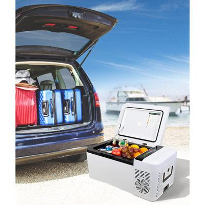 Autochladnička mraznička lednice kompresorová chladící box do auta Aroso 12V 24V 230V 15l - nízká proudová spotřeba