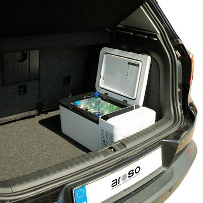 Autochladnička mraznička lednice kompresorová chladící box do auta Aroso 12V 24V 230V 15l - ochranné režimy