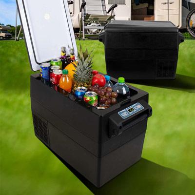 Autochladnička mraznička lednice kompresorová chladící box do auta Aroso 12V 24V 230V 42l - chlazení potravin a nápojů