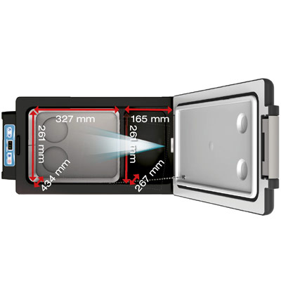 Autochladnička mraznička lednice kompresorová chladící box do auta Aroso 12V 24V 230V 52l - velký vnitřní objem