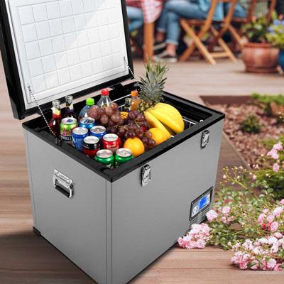 Autochladnička mraznička lednice kompresorová chladící box do auta Aroso 12V 24V 230V 60l - chlazení potravin a nápojů