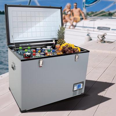 Autochladnička mraznička lednice kompresorová chladící box do auta Aroso 12V 24V 230V 95l - velký vnitřní objem