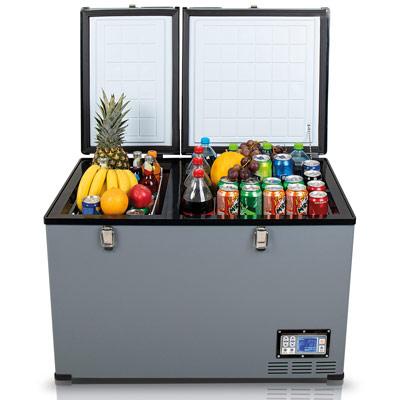 Autochladnička mraznička lednice kompresorová chladící box do auta Aroso 12V 24V 230V 100l - chlazení potravin a nápojů