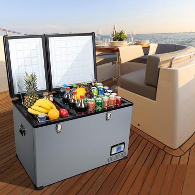 Autochladnička mraznička lednice kompresorová chladící box do auta Aroso 12V 24V 230V 100l - velký vnitřní objem